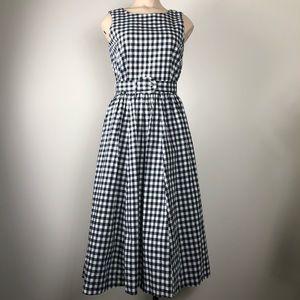 Talbots Vintage Retro Gingham Button Back Dress